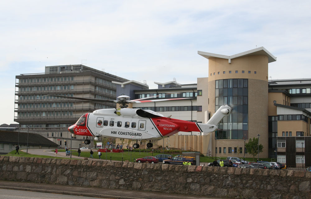 Coastguard helicopter landing at Aberdeen Royal Infirmary